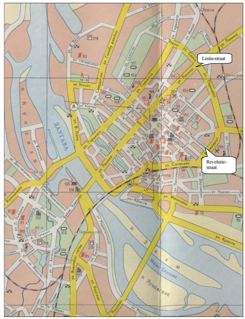 Een deel van de kaart van Riga, gedrukt in Moskou, 1978.