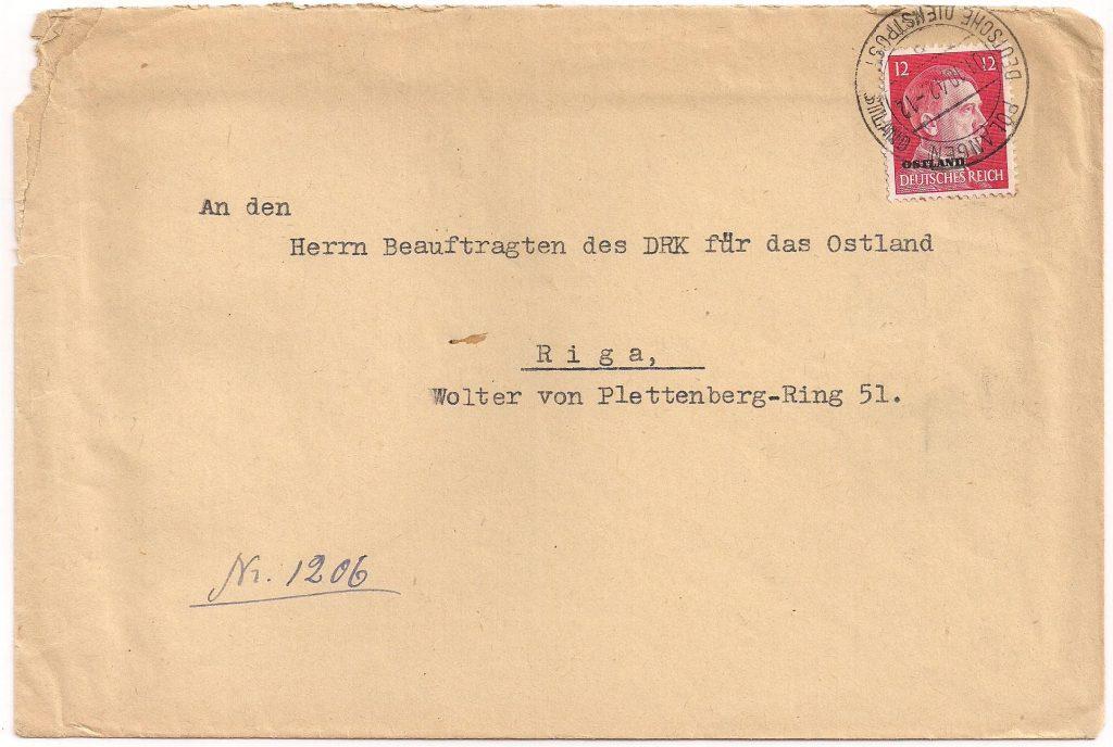 Brief vanuit Polangen naar Riga via de Deutsche Dienstpost Ostland