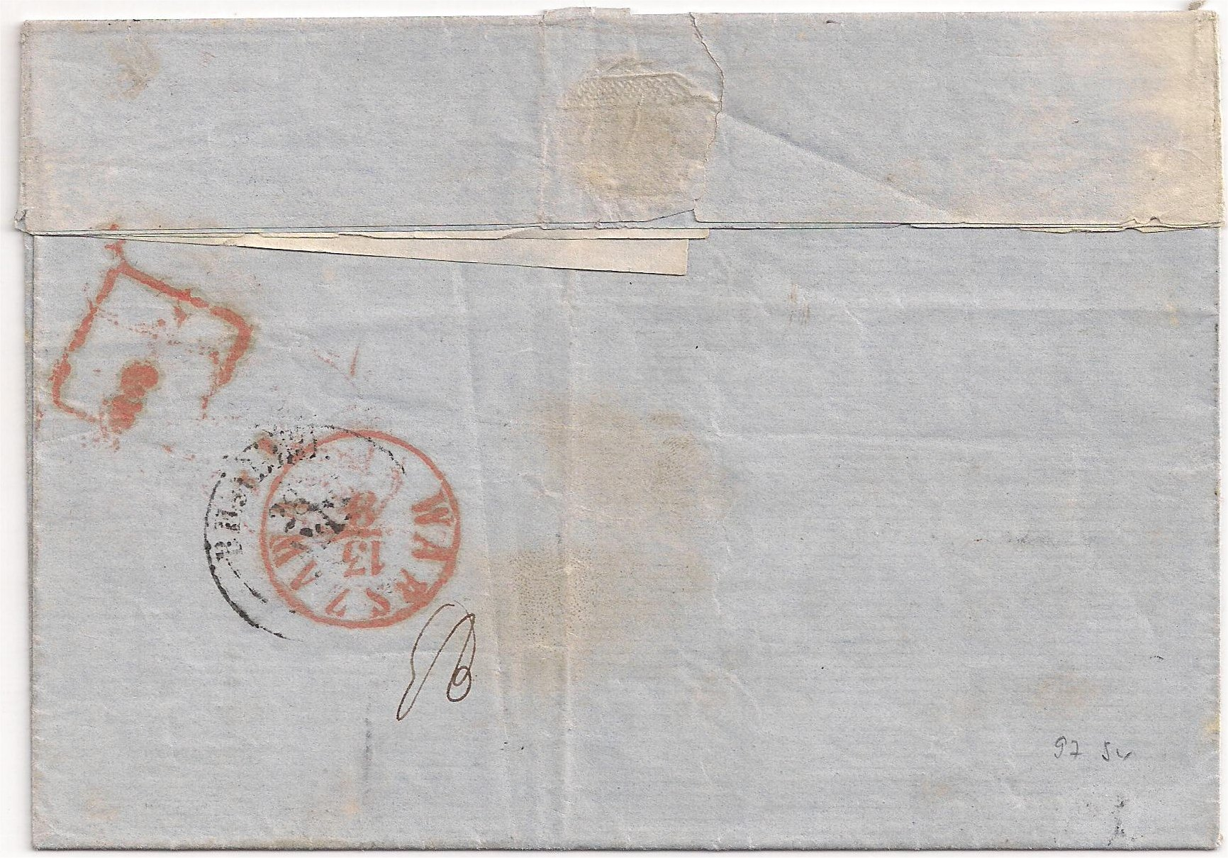 On the backside the departure postmark of Vilnius and the arrival postmark of Warsaw.