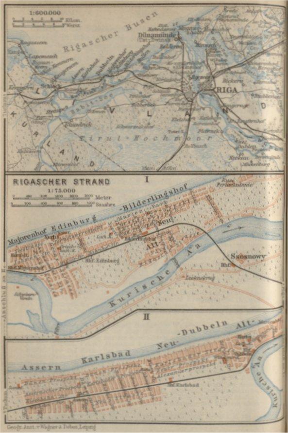 Kaartje uit 'Russland nebst Teheran, Port Arthus, Peking / von Karl Baedeker. – 1912. De kustlijn van Assern tot en met Bilderingshof was 12 werst lang (bijna 13 kilometer), en volgens Baedeker bezochten jaarlijks 80.000 dit gebied in de periode juni – eind augustus.