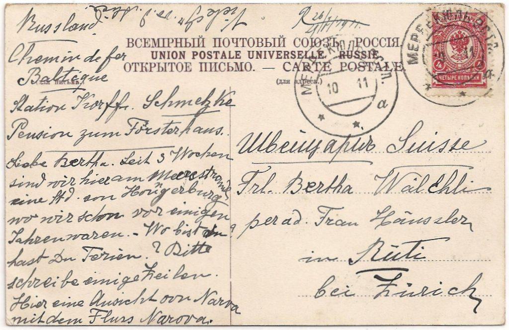 De adreszijde van de kaart hierboven. Volgens de tekst van de kaart zit men sinds drie weken in een pension aan zee op een uur afstand van Hungerburg….