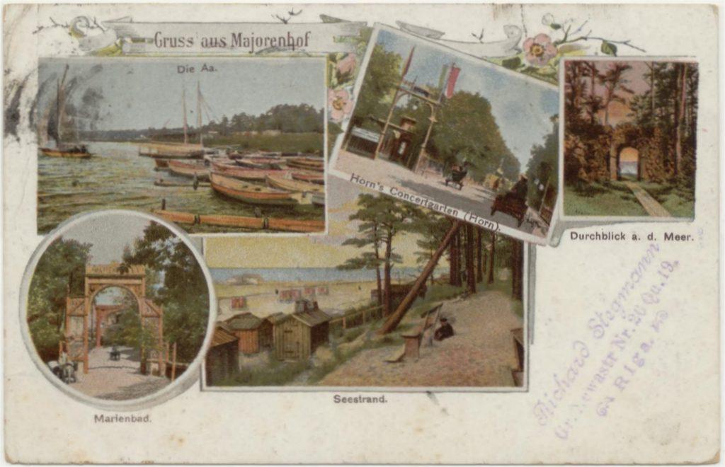 Kaart , verzonden uit Riga naar Hilversum., met afbeeldingen uit Majori.